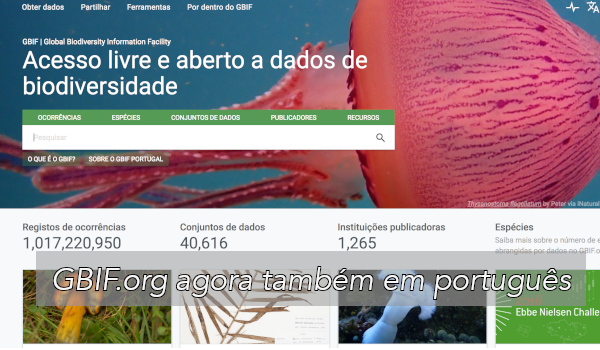 Portuguese version of GBIF.org interface